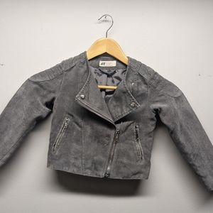 H&M Girls Jacket Asymmetric Zipper Grey